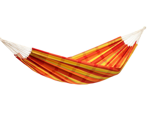 Hanging empty Barbados hammock in Papaya orange red yellow