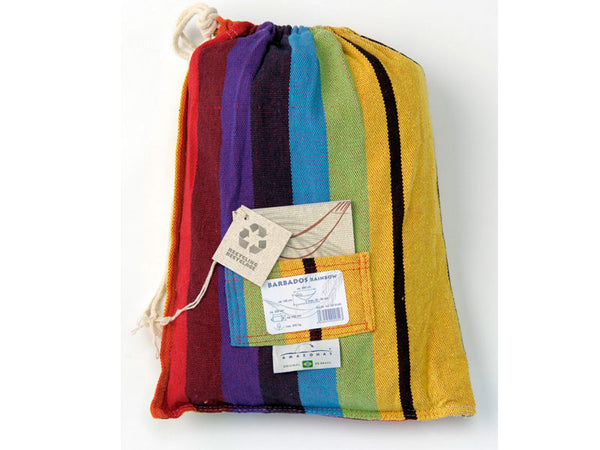 Packaging for colourful striped Rainbow Barbados hammock