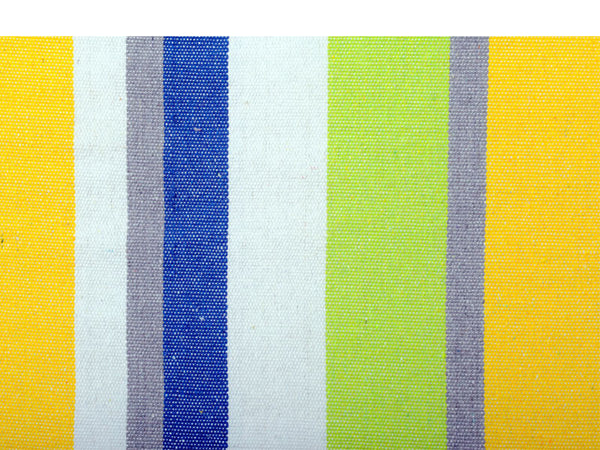 Swatch of yellow blue green white stripes.