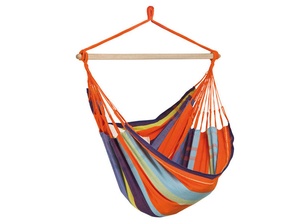 Empty orange striped Mandarina Bogata hammock with white background.