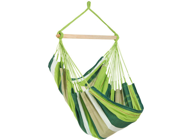Empty green striped Oliva Bogata hammock with white background.
