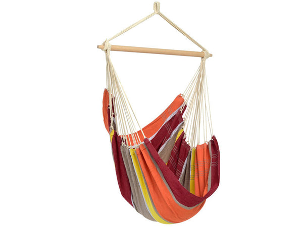 Empty Brasil Acerola Hammock Chair with white background.