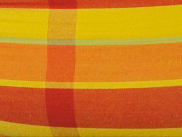 Swatch of Brasil Papaya Hammock Chair stripes and check.