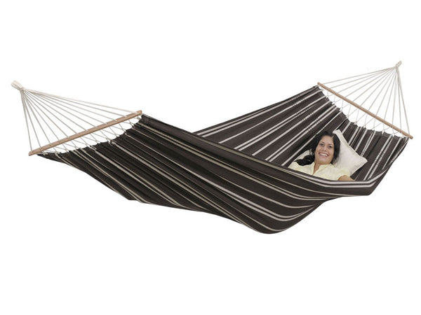 Woman lying in Brasilia Mocca hammock