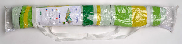Green yellow white Brasilia hammock with spreader bar in packaging