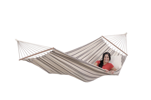 Woman lying in cappucinno with brown stripes Brasilia hammock with spreader bar