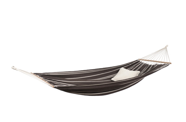 Empty - with cushion - mocca with stripes Brasilia hammock with spreader bar