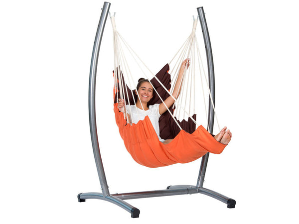 Girl sat in California Hanging Chair with Stand Set
