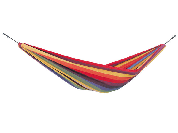 Empty Chico Rainbow Hammock with white background.