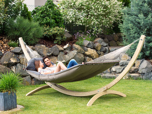 Amazonas Fat Hammock Taupe with Stand Set