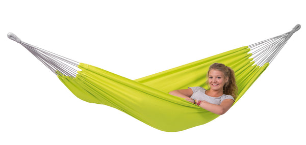 Girl relaxing in Kiwi green Florida hammock