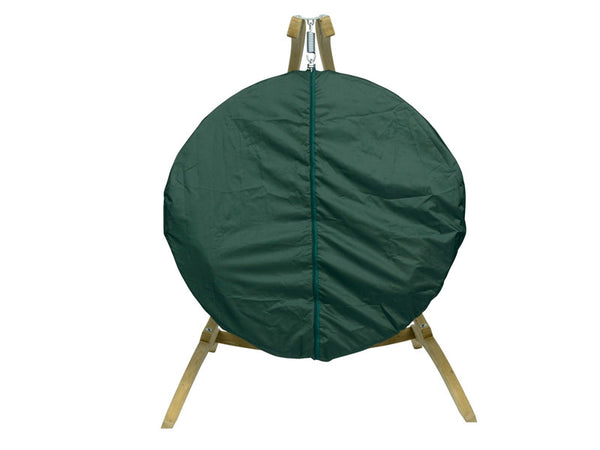 Front view of weatherproof cover on Globo Single chair