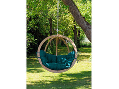 Globo Single Wooden Swing Chair Weatherproof  Green Cushion