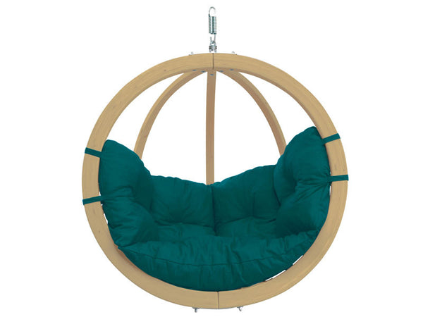 Globo Single Green Wooden Swing Chair with white background.