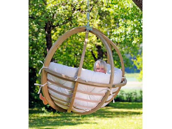 Back of Globo Single Natura Wooden Swing Chair hanging from tree.