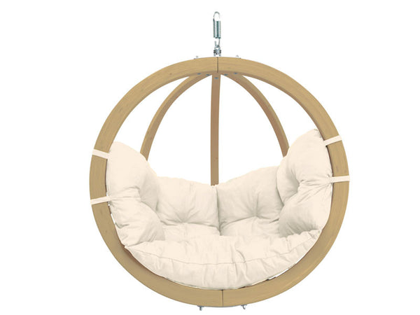 Globo Single Natura Wooden Swing Chair with white background.