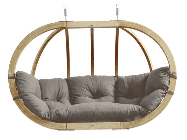 Taupe Globo Royal Double Wooden Hanging Chair