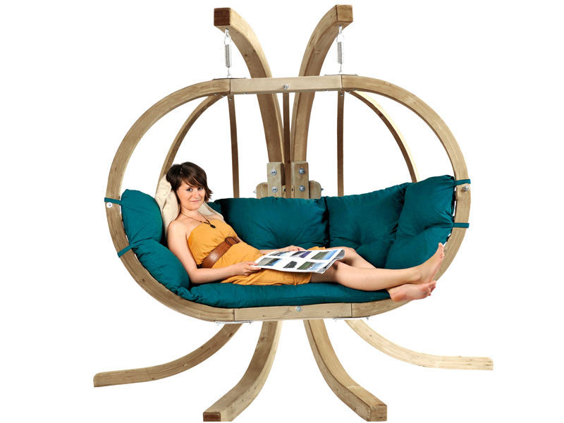 Globo Royal Double Wooden Swing Set Weatherproof  Cushion (in 3 colours)