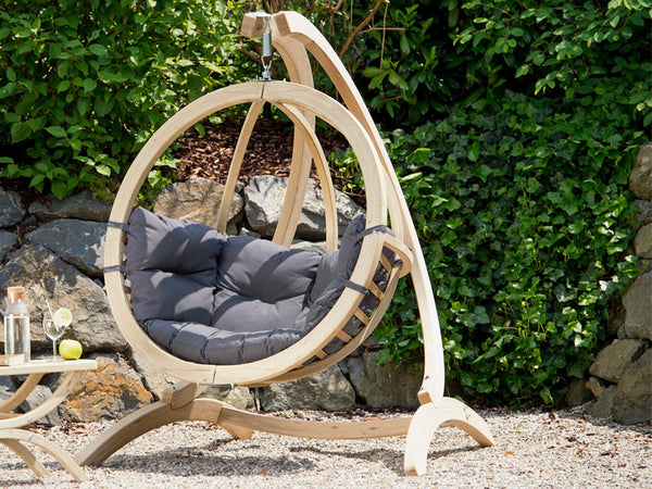 Globo Single Anthracite Wooden Swing Chair Set