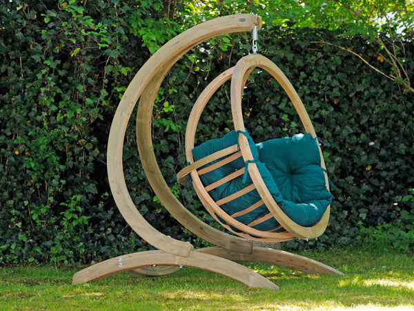 Side view of Globo Single Green Wooden Swing Chair Set