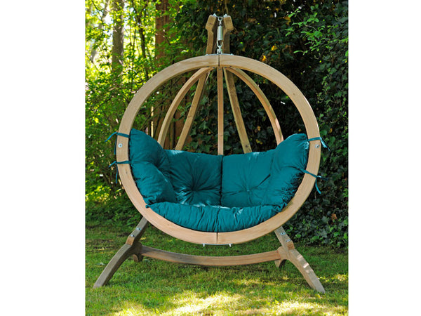 Front view of Globo Single Green Wooden Swing Chair Set