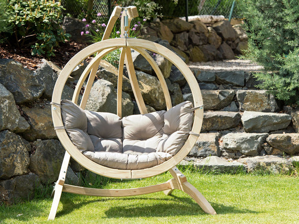 Globo Single Taupe Wooden Swing Chair Set
