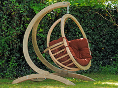 Globo Single Wooden Swing Chair Set Terracotta
