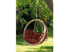 Globo Single Wooden Swing Chair Terracotta Cushion