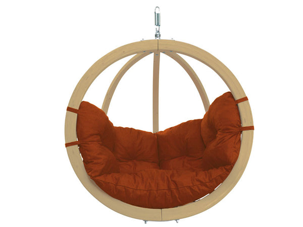 Globo Single Terracotta Wooden Swing Chair with white background.