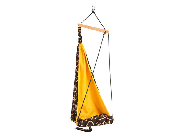 Empty giraffe patterned hanging chair.