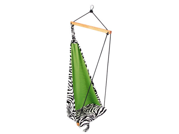 Front view of zebra patterned hanging chair.