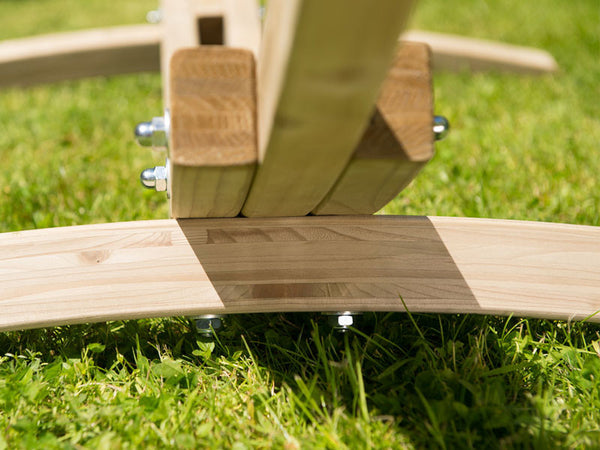 Detail of wooden Kronos stand feet.