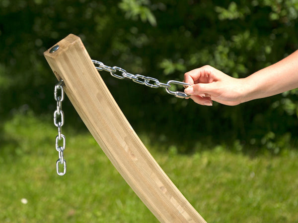 Detail of chain hammock attachment on wooden Kronos stand..