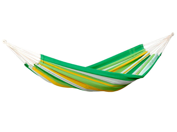 Hanging empty Lambada hammock in Apple green stripes