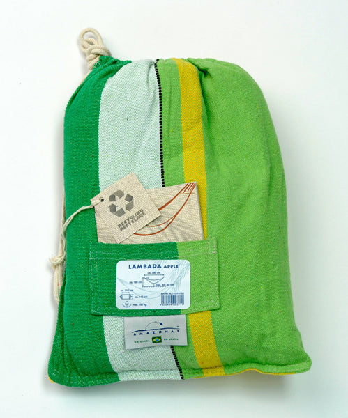 Packaging for striped green yellow white striped Apple Lambada hammock