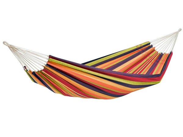 Hanging empty Lambada hammock in Tropical colourful stripes