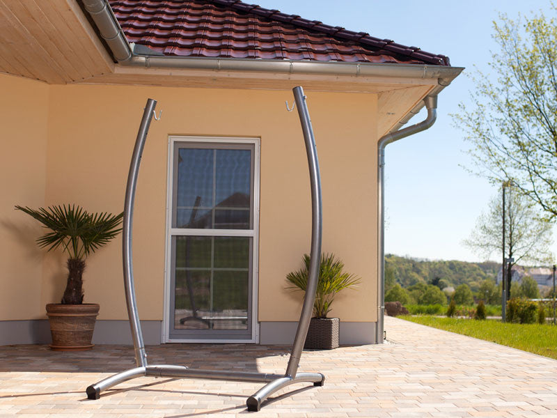 Omega Rockstone Hammock Chair Stand on terrace