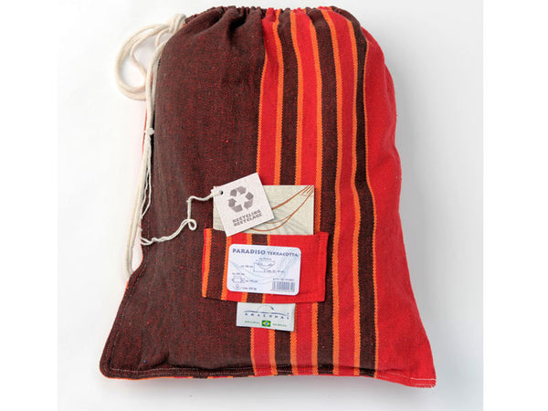 Cotton packaging bag for terracotta Paradiso hammock.