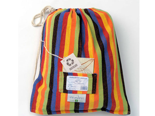 Cotton packaging bag for tropical stripes Paradiso hammock.