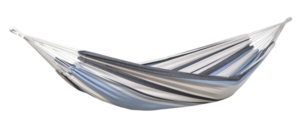 Empty blues and white striped Salsa Marine hammock