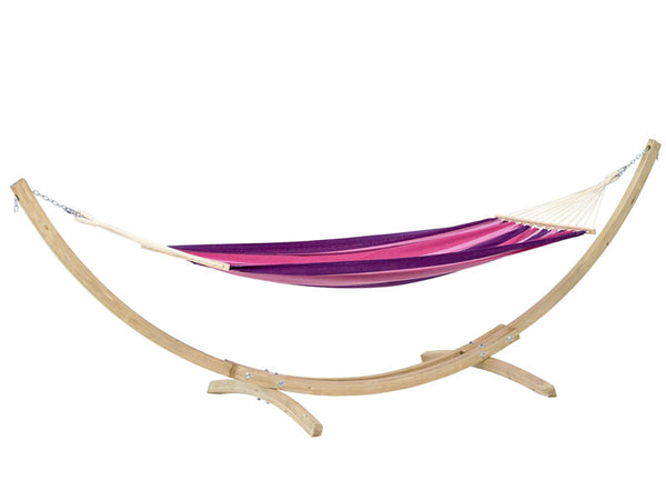 Tonga hammock in Candy pink stripes with a wooden stand