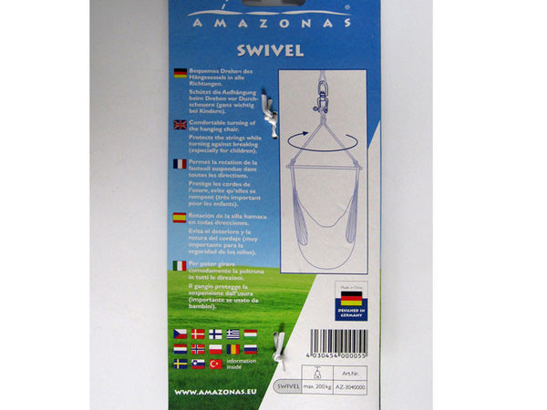 Back of packaging for Swivel for hanging hammock chairs.