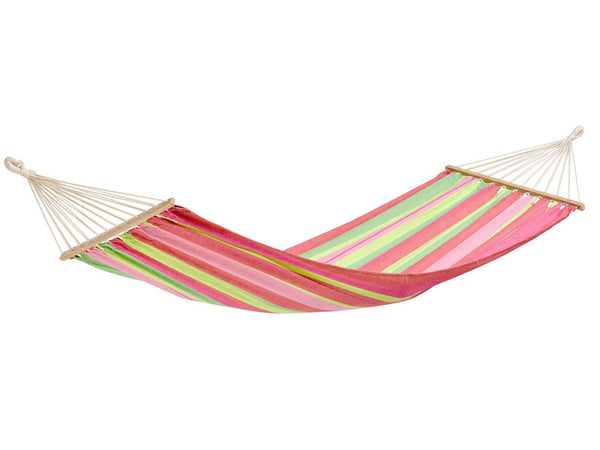 Empty pinks and greens striped Tonga Bubblegum hammock with spreader bar