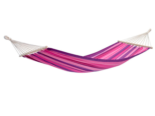 Hanging empty Tonga hammock in Candy pink red purple stripes