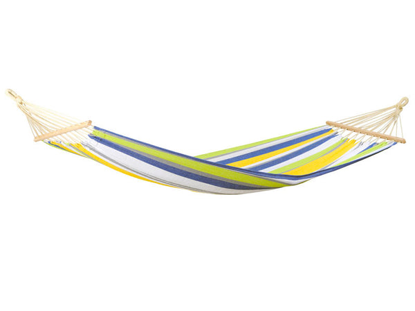 Hanging empty Tonga hammock in Kolibri blue yellow green white stripes