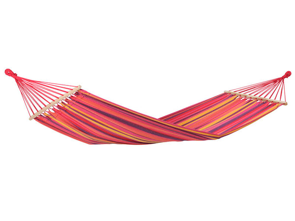 Hanging empty Tonga hammock in Vulcano in reds purples yellow stripes