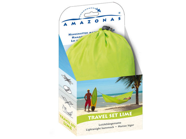 Packaging for lime Travel Set hammock.