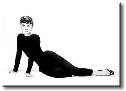 Beautiful Audrey Hepburn in Black Pantsuit Picture on Stretched Canvas, Wall Art Decor, Ready to Hang