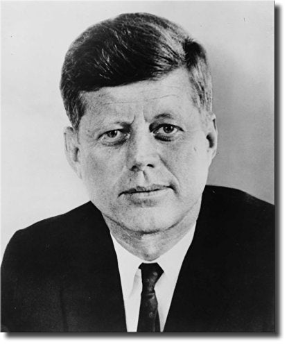 John F. Kennedy Portrait, JFK Wall Picture Art on Stretched Canvas, Ready to Hang!
