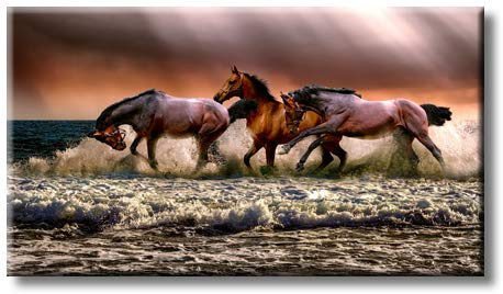 Running Wild Horses on Sea Picture on Stretched Canvas, Wall Art Décor, Ready to Hang